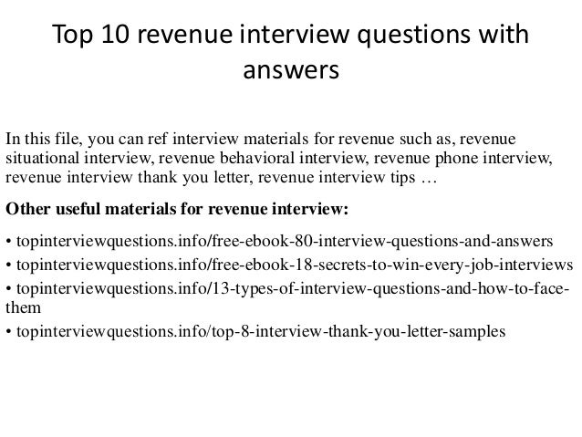 Top 10 revenue interview questions with answers