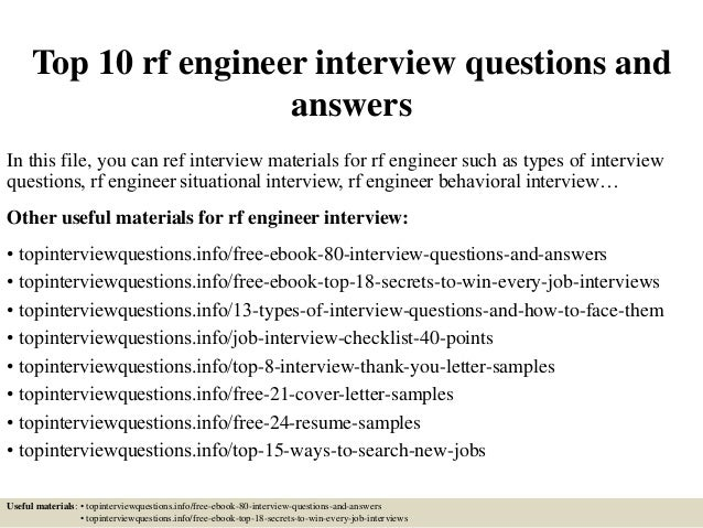 Top 10 Rf Engineer Interview Questions And Answers In This File, You Can  Ref Interview ...