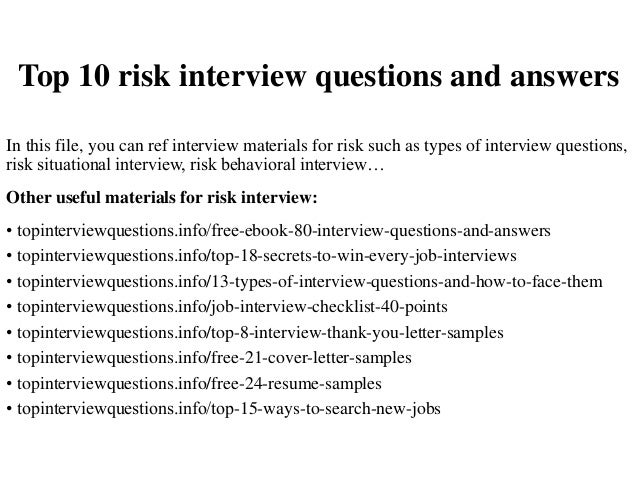 Delightful Top 10 Risk Interview Questions And Answers In This File, You Can Ref  Interview Materials ...