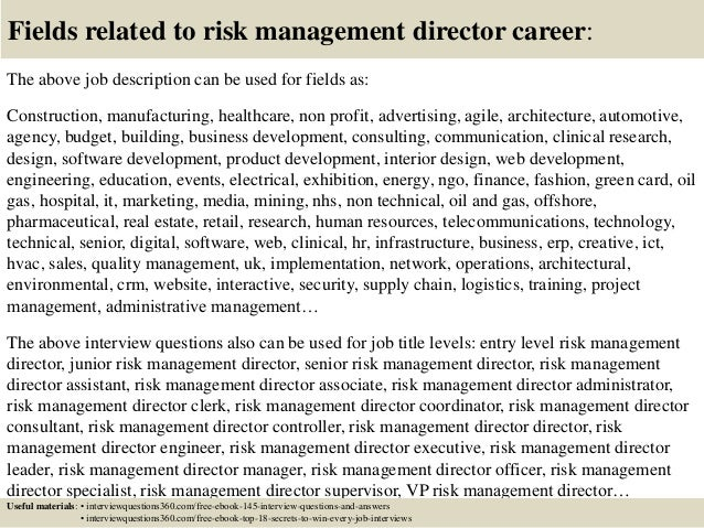 Top 10 Risk Management Director Interview Questions And Answers