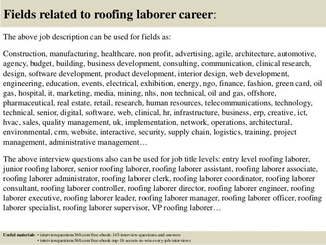 Fields Related To Roofing Laborer Career The Above Job ... Sc 1 St  SlideShare