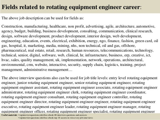 17 fields related to rotating equipment engineer - Equipment Engineer Sample Resume