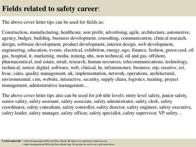 ... 16. Fields Related To Safety Career: The Above Cover Letter ...