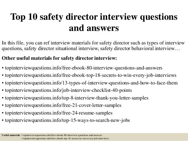 TopSafetyDirector InterviewQuestionsAndAnswersJpgCb