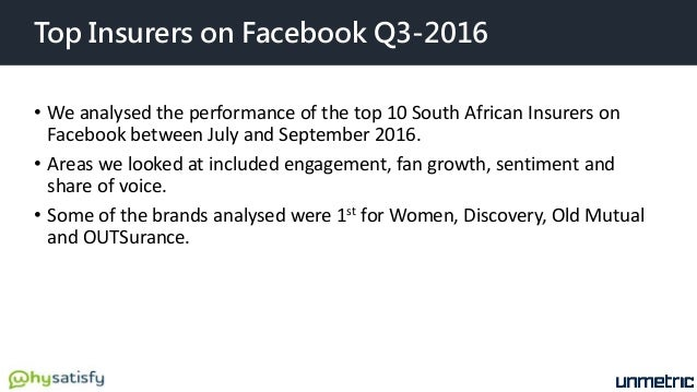 Top Insurers on Facebook Q3-2016 • We analysed the performance of the top 10 South African Insurers on Facebook between Ju...