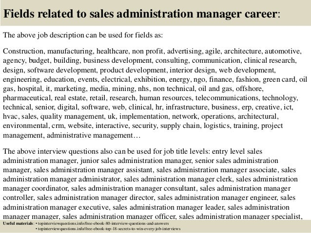 17 fields related to sales administration manager career the above job description. Resume Example. Resume CV Cover Letter