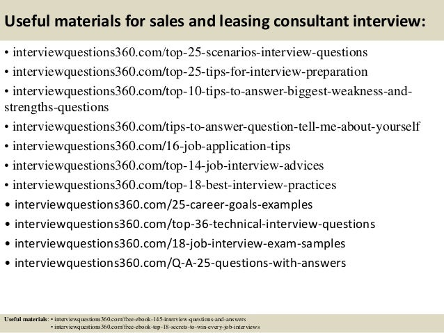 ... 14. Useful Materials For Sales And Leasing Consultant Interview: ...