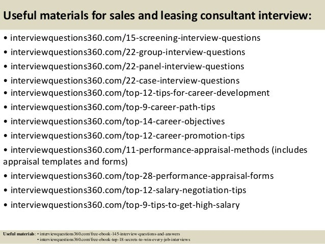 Attractive ... 16. Useful Materials For Sales And Leasing Consultant Interview: ...