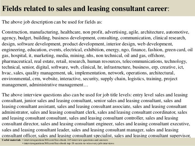 ... 18. Fields Related To Sales And Leasing Consultant ...