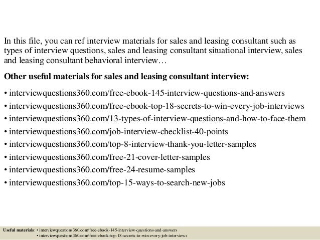 Perfect Leasing Agent Interview Questions