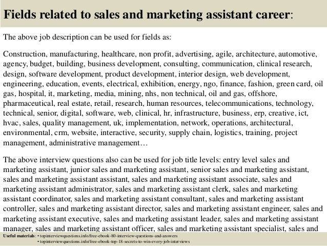 Top  Sales And Marketing Assistant Interview Questions And Answers