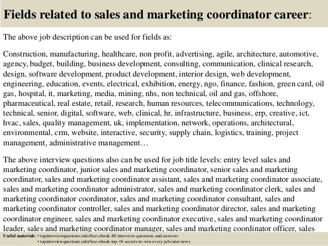 Top 10 sales and marketing coordinator interview questions and answers – Marketing Coordinator Job Description