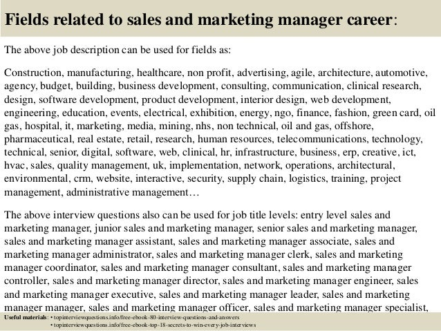Amazing Sales And Marketing Job Description Ideas - Best Resume