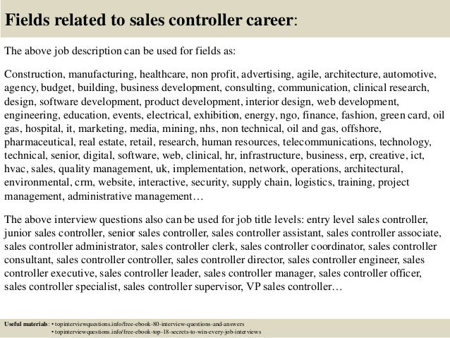 ... 17. Fields Related To Sales Controller Career: The Above Job Description  ...