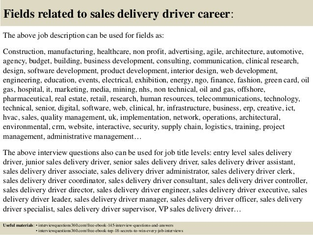 Top 10 sales delivery driver interview questions and answers – Delivery Driver Job Description