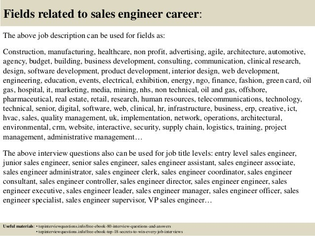 Top 10 sales engineer interview questions and answers – Sales Engineer Job Description
