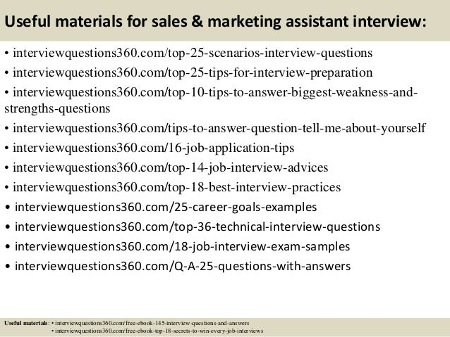 Top  Sales  Marketing Assistant Interview Questions And Answers