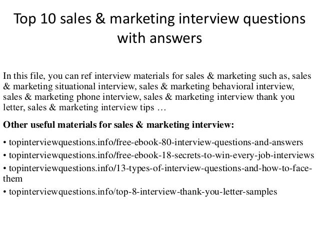 Top 10 Sales U0026 Marketing Interview Questions With Answers In This File, ...