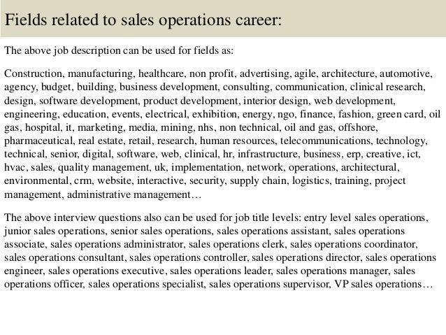 Sales Operations Manager Job Description