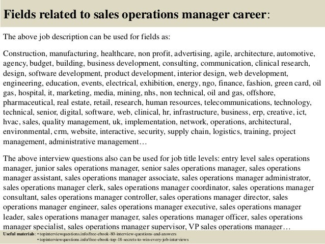 Top 10 sales operations manager interview questions and answers – Operations Manager Job Description