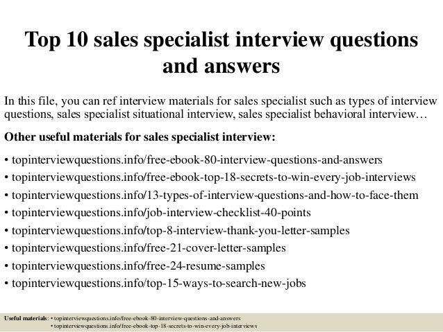 Top 10 Sales Specialist Interview Questions And Answers