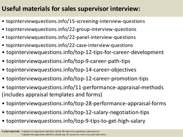Top 10 sales supervisor interview questions and answers