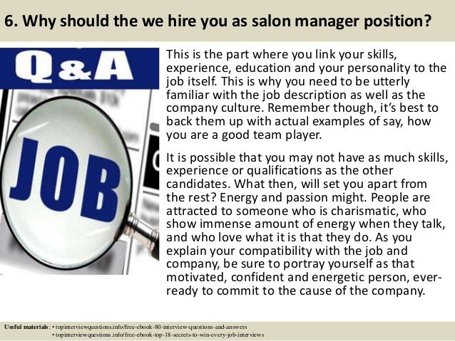 Top 10 salon manager interview questions and answers