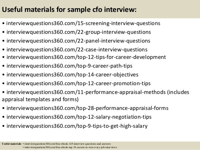 16 useful materials for sample cfo interview - Samplesinterviewquestions