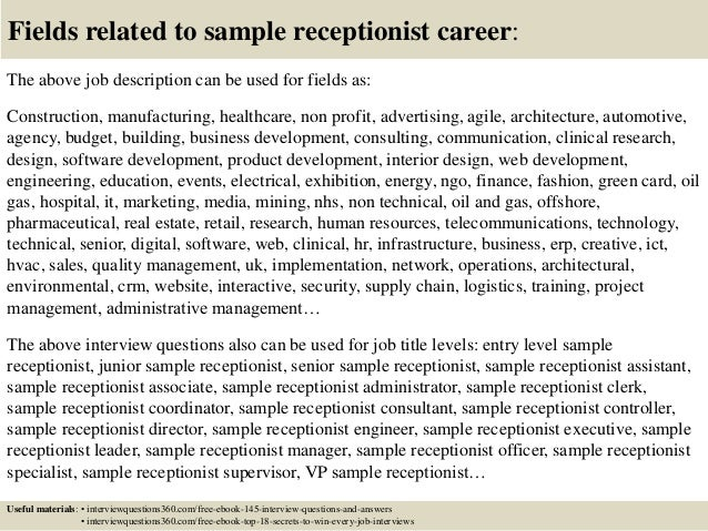 Top 10 sample receptionist interview questions and answers