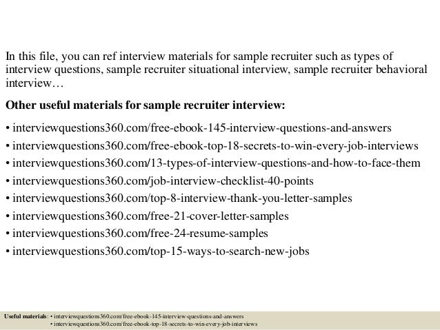 Attractive ... 2. In This File, You Can Ref Interview Materials For Sample Recruiter  ...