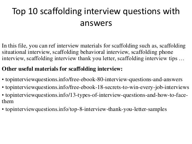 Scaffold test answers ebook array top 10 scaffolding interview questions with answers rh slideshare net fandeluxe Gallery