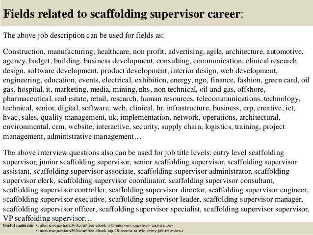 top 10 scaffolding supervisor interview questions and answers