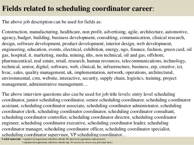 Top 10 scheduling coordinator interview questions and answers