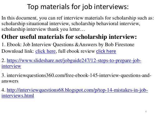 scholarship interview 4 top materials for job - Answering Job Interview Questions Part 2