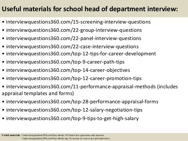 Top 10 school head of department interview questions and answers
