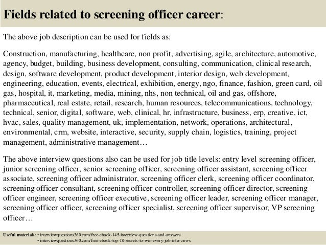Top 10 screening officer interview questions and answers