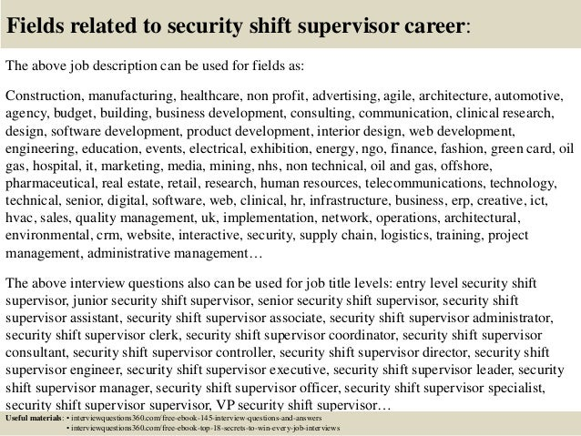 Top 10 Security Shift Supervisor Interview Questions And Answers