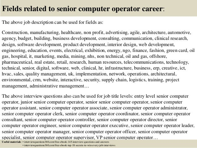 18 Fields Related To Senior Computer Operator Career