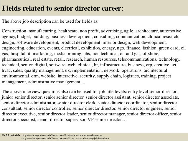 ... 17. Fields Related To Senior Director Career: The Above Job Description  ...