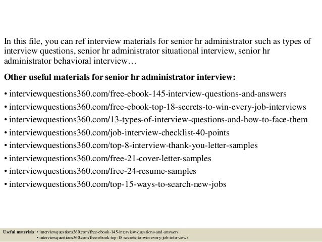 top 10 senior hr administrator interview questions and answers