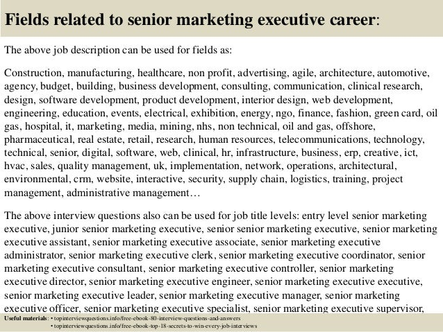 Top 10 senior marketing executive interview questions and answers – Marketing Executive Job Description