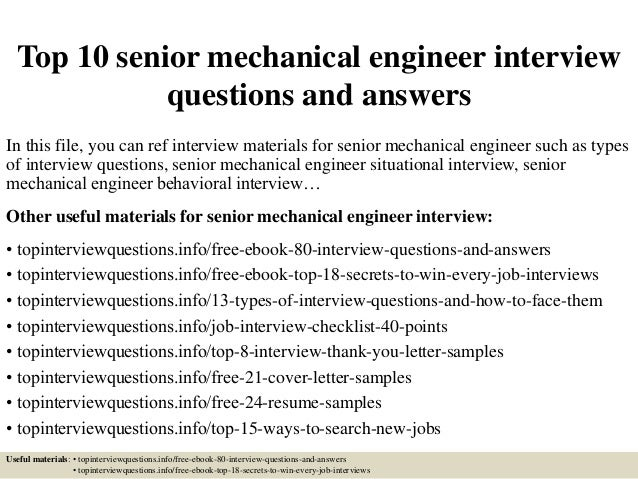 Sample interview questions for mechanical engineer.