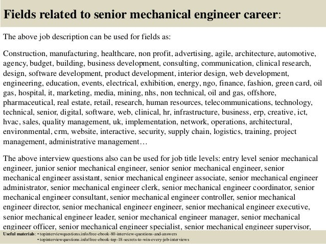 Top Senior Mechanical Engineer Interview Questions And Answers