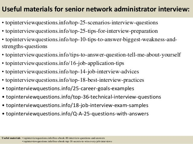 Top 10 senior network administrator interview questions and answers