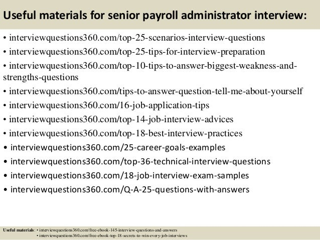 Top 10 senior payroll administrator interview questions and answers