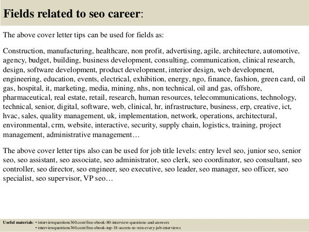 ... 16. Fields Related To Seo Career: The Above Cover Letter ...