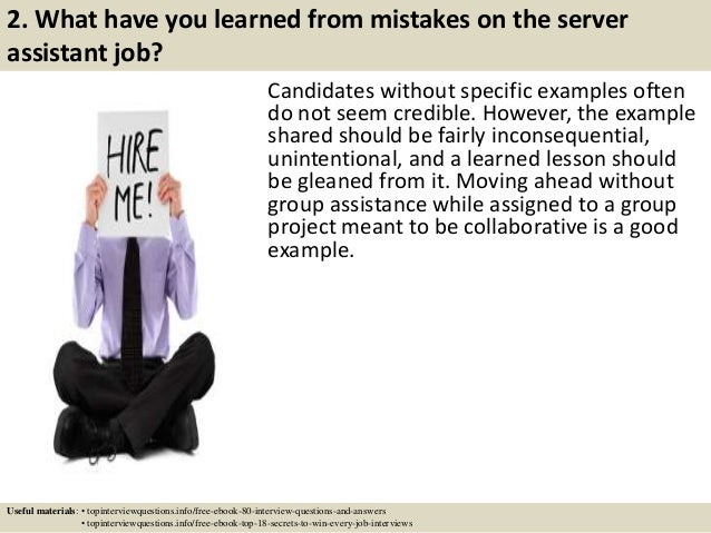 Top 10 Server Assistant Interview Questions And Answers