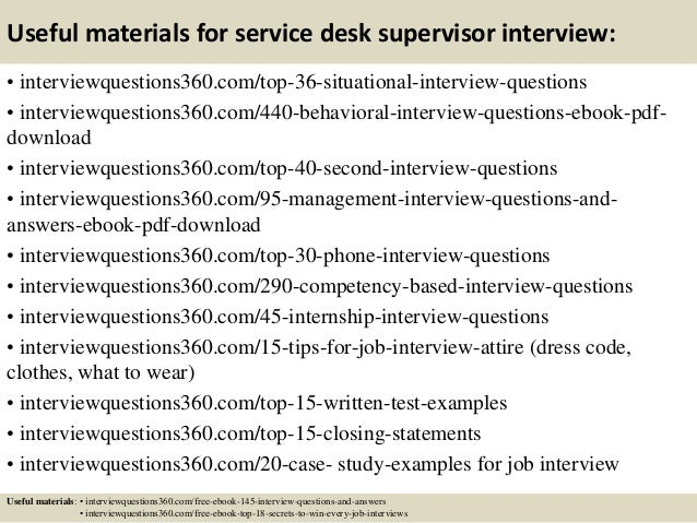 13 useful materials for service desk supervisor interview
