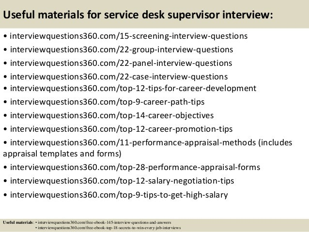 top 10 service desk supervisor interview questions and answers
