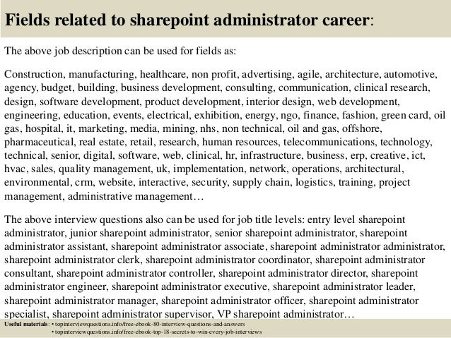 ... 17. Fields Related To Sharepoint Administrator ...